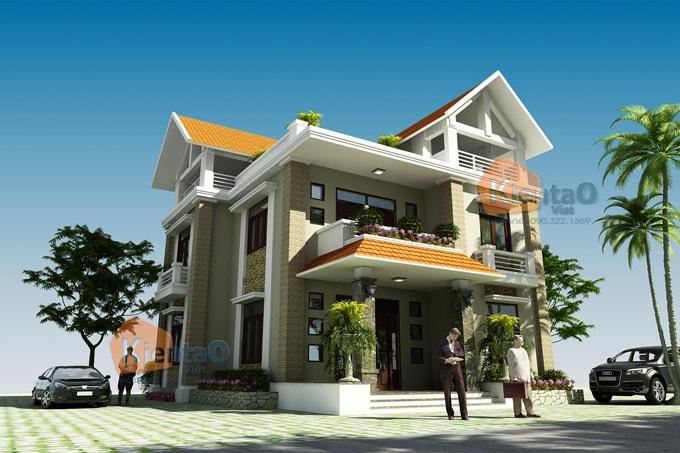 Nhà biệt thự 2 tầng tại thái bình đẹp 11x13 phong cách bán cổ điển- Phối cảnh 01