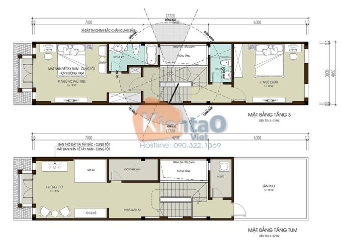 Nhà lô phố đẹp 4x20m cao 4 tầng kiểu biệt thự- mặt bằng tầng 3+4