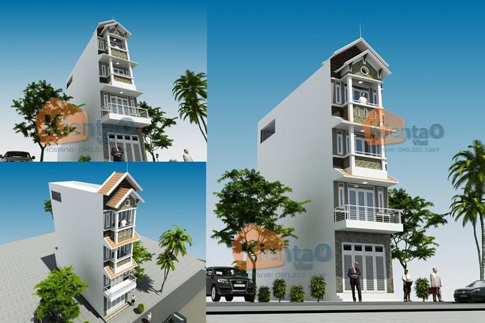 Nhà lô phố đẹp 4x20m cao 4 tầng kiểu biệt thự- phối cảnh 01