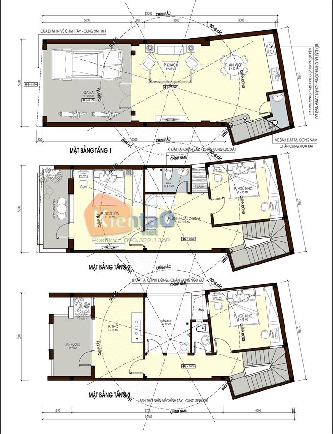 Nhà ống 3 tầng đẹp 5x14m tại thường tín hà nội - mặt bằng tầng 1,2,3