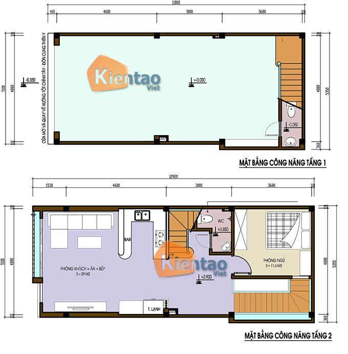 Nhà phố 3 tầng đẹp 1 tum 5x13m hiện đại tại thường tín- Mặt bằng tầng 1+2