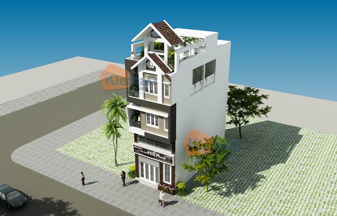 nhà phố 4 tầng đẹp 5x12m hiện đại độc đáo- phối cảnh 02