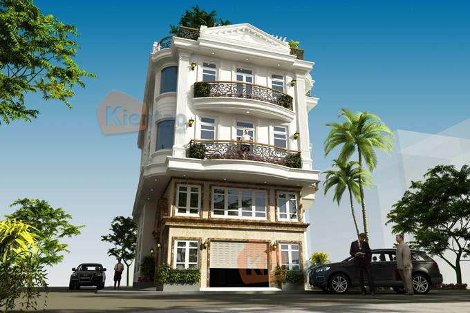 Nhà ở kết hợp văn phòng 4 tầng đẹp 13,7x12,8m tại âu cơ hà nội - Phối cảnh 01