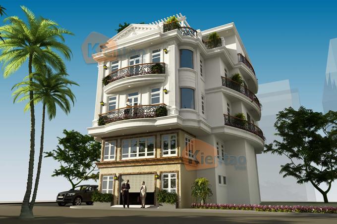 Nhà ở kết hợp văn phòng 4 tầng đẹp 13,7x12,8m tại âu cơ hà nội - Phối cảnh 02