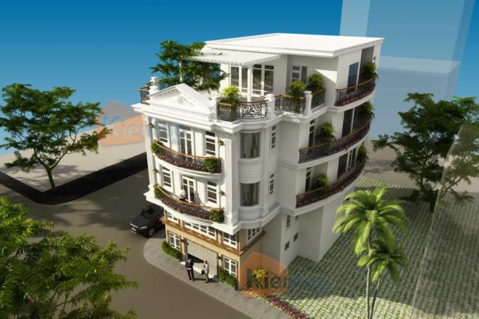 Nhà ở kết hợp văn phòng 4 tầng đẹp 13,7x12,8m tại âu cơ hà nội - Phối cảnh 03