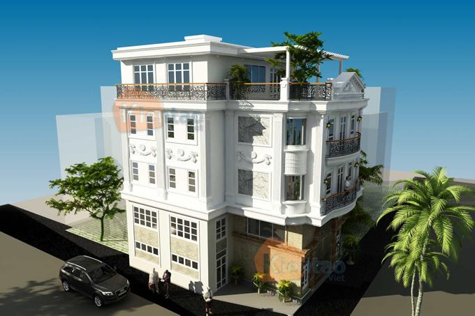 Nhà ở kết hợp văn phòng 4 tầng đẹp 13,7x12,8m tại âu cơ hà nội - Phối cảnh 04