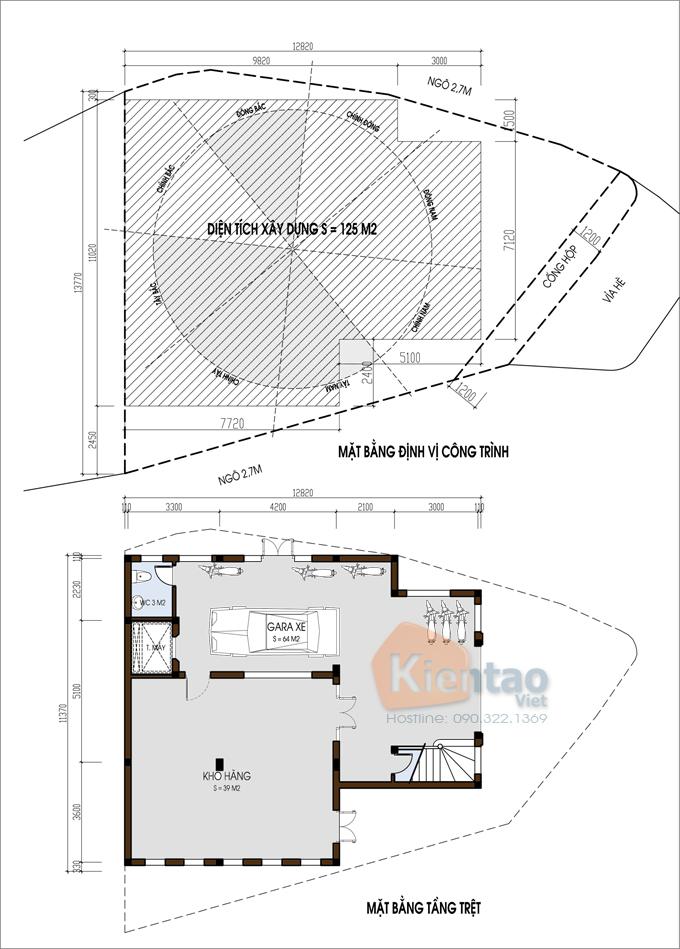 Nhà ở kết hợp văn phòng 4 tầng đẹp 13,7x12,8m tại âu cơ hà nội - Mặt bằng định vị + mặt bằng tầng trệt