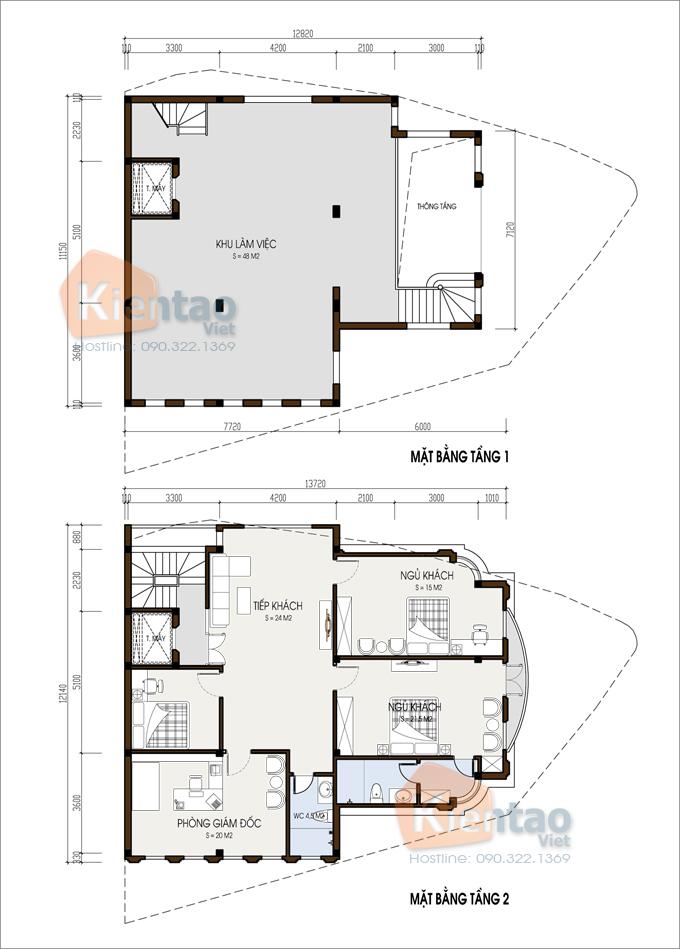 Nhà ở kết hợp văn phòng 4 tầng đẹp 13,7x12,8m tại âu cơ hà nội - Mặt bằng 1+2