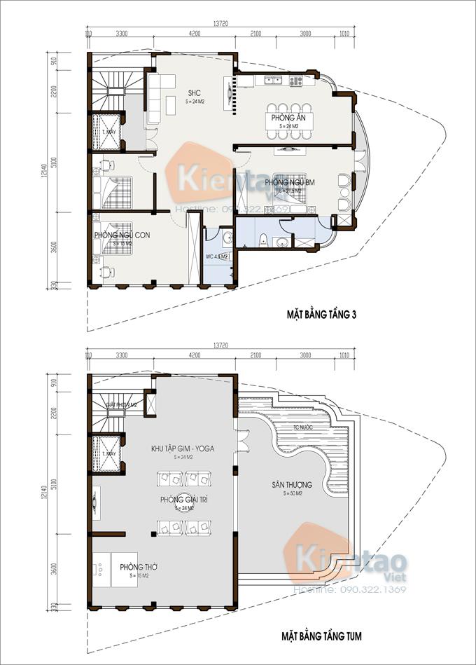 Nhà ở kết hợp văn phòng 4 tầng đẹp 13,7x12,8m tại âu cơ hà nội - Mặt bằng 3+4