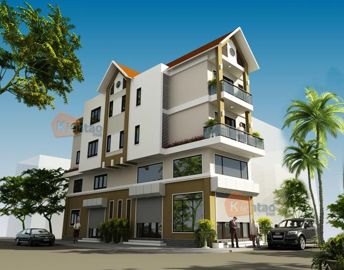 Nhà phố 5x20m 4 tầng đẹp tại quốc oai - Phối cảnh 01