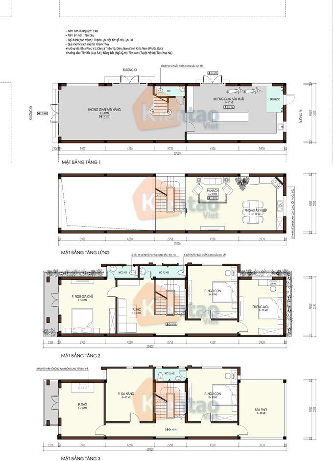 Nhà phố 5x20m 4 tầng đẹp tại quốc oai - Mặt bằng tầng 1+ tầng lửng + tầng 2+3